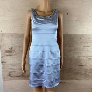 Cachet Silver Beaded Dress Size 4